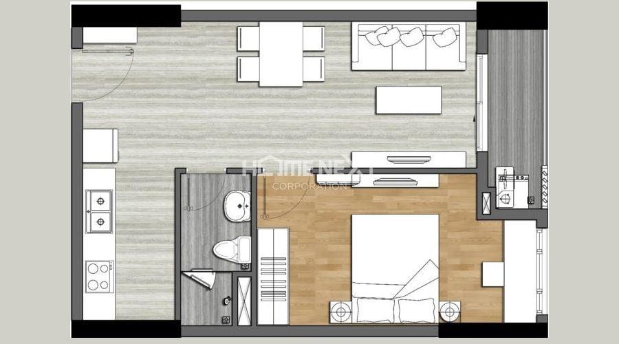 Mặt bằng căn hộ 9X Next Gen - 1 phòng ngủ