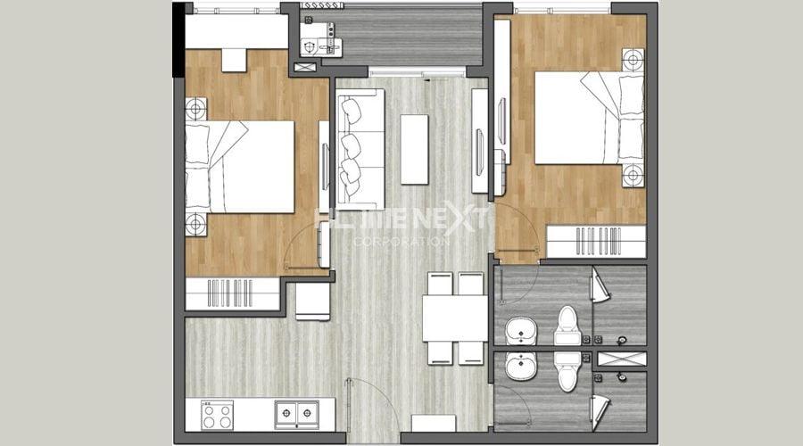 Mặt bằng căn hộ 9X Next Gen - 2 phòng ngủ