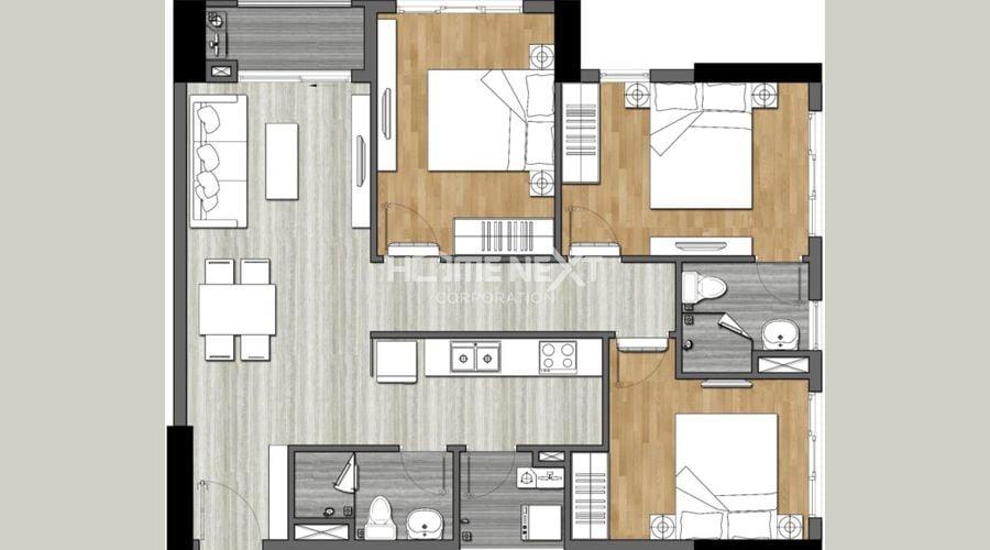 Mặt bằng căn hộ 9X Next Gen - 3 phòng ngủ