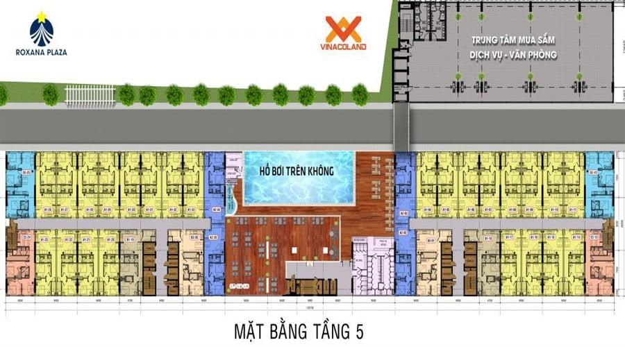 Mặt bằng căn hộ Roxana Plaza - Tầng 5