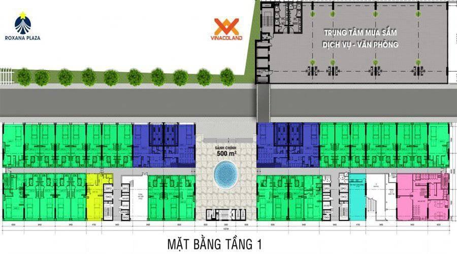 Mặt bằng căn hộ Roxana Plaza - Tầng 1