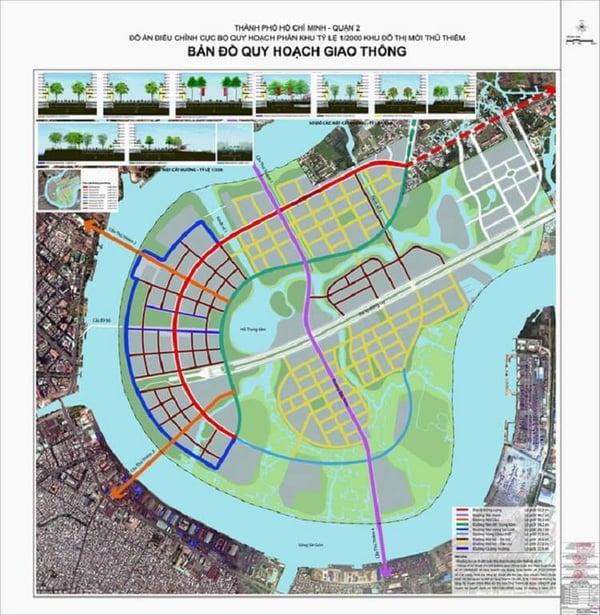 Bản đồ quy hoạch giao thông 1/2.000 khu đô thị mới Thủ Thiêm - Ảnh: BQL KĐTM Thủ Thiêm