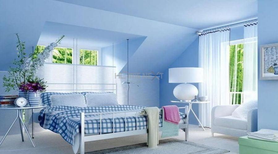 Màu xanh da trời cho phòng khách trang nhã hơn