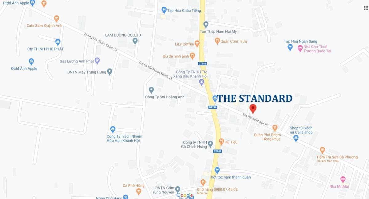 Vị trí dự án The Standard Tân Uyên Bình Dương
