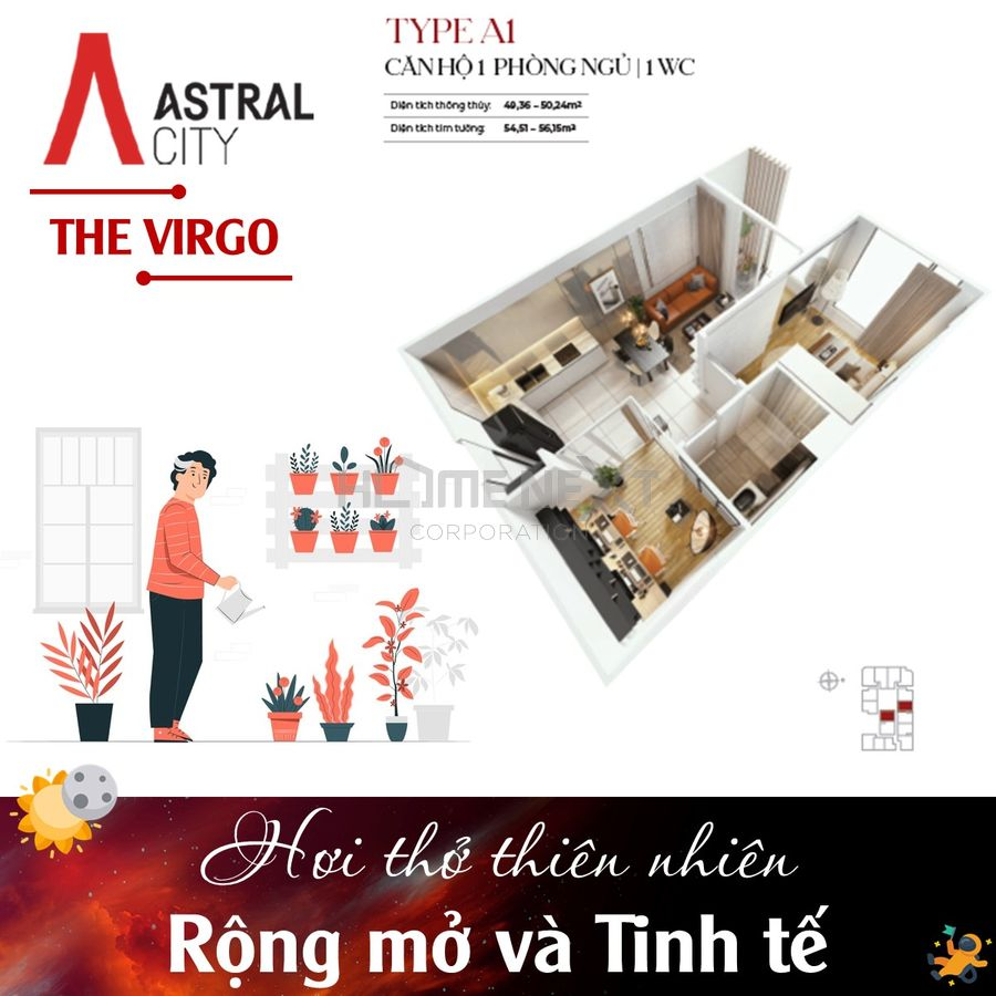Layout căn hộ Loại A1 – Căn hộ 1 Phòng ngủ + 1 WC