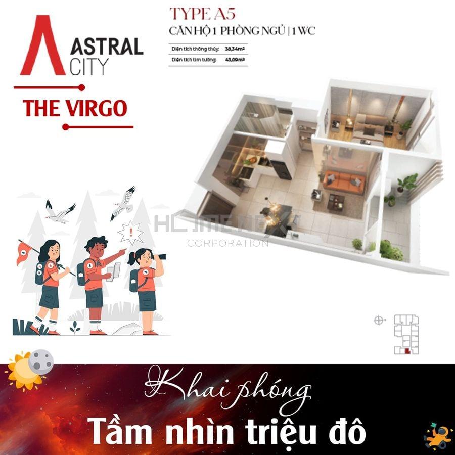 Layout căn hộ Loại A5 – Căn hộ 1 Phòng ngủ + 1 WC