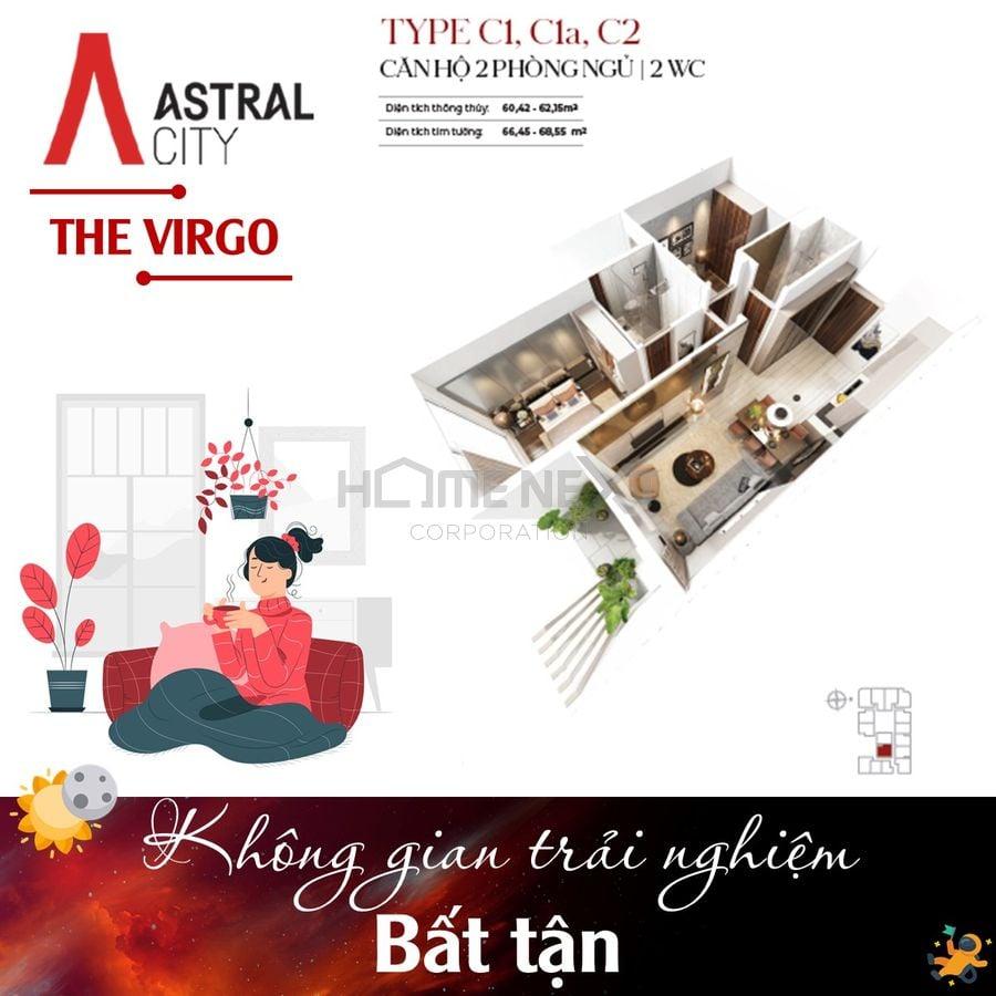 Layout căn hộ Loại B1– Căn hộ 2 Phòng ngủ + 1 WC