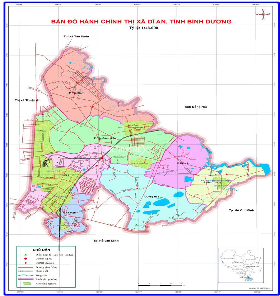 bản đồ hành chính thành phố Dĩ An