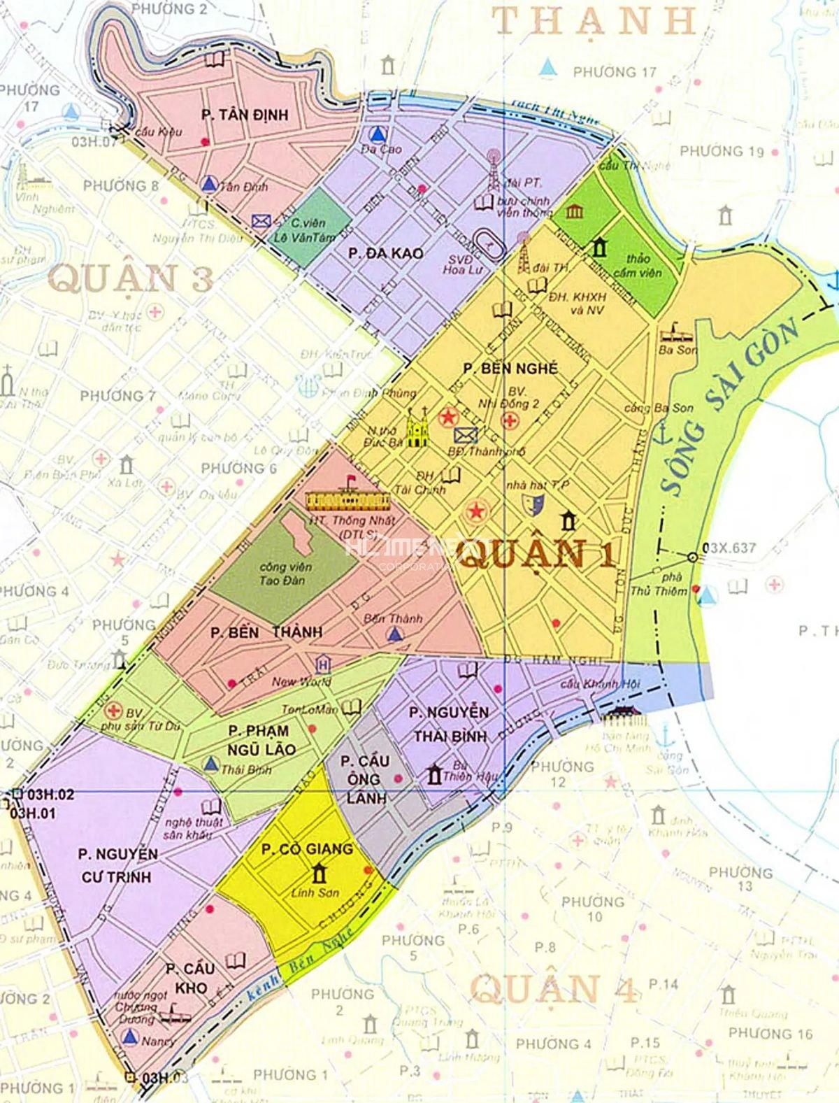 Bản đồ hành chính Quận 1, thành phố Hồ Chí Minh