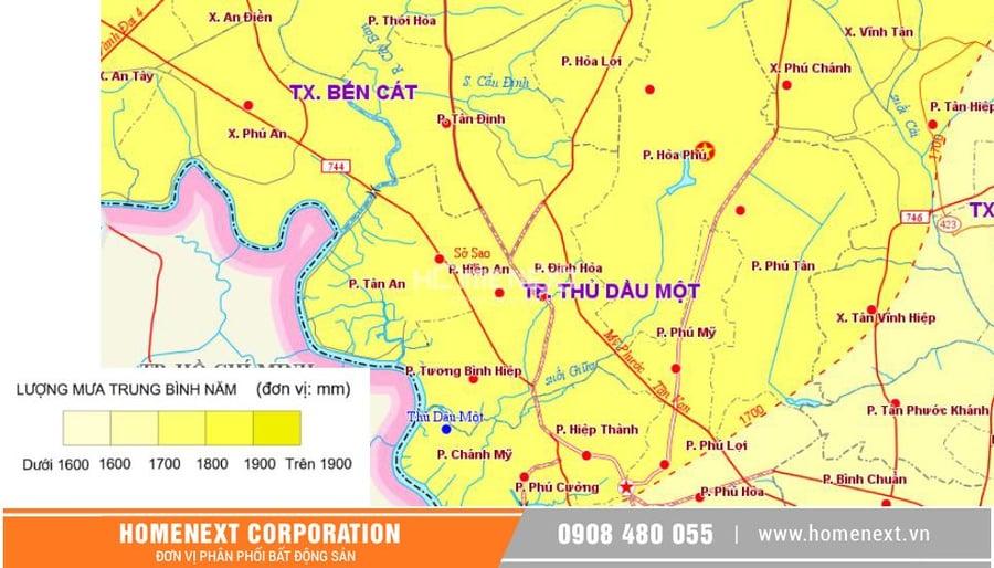 bản đồ lượng mưa Thủ Dầu Một