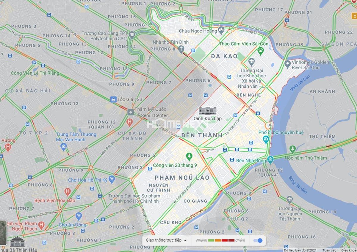 Bản đồ Lưu lượng giao thông quận 1