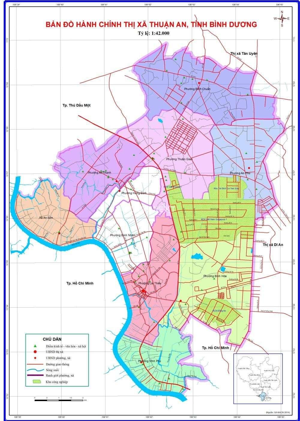 bản đồ hành chính thành phố thuận an