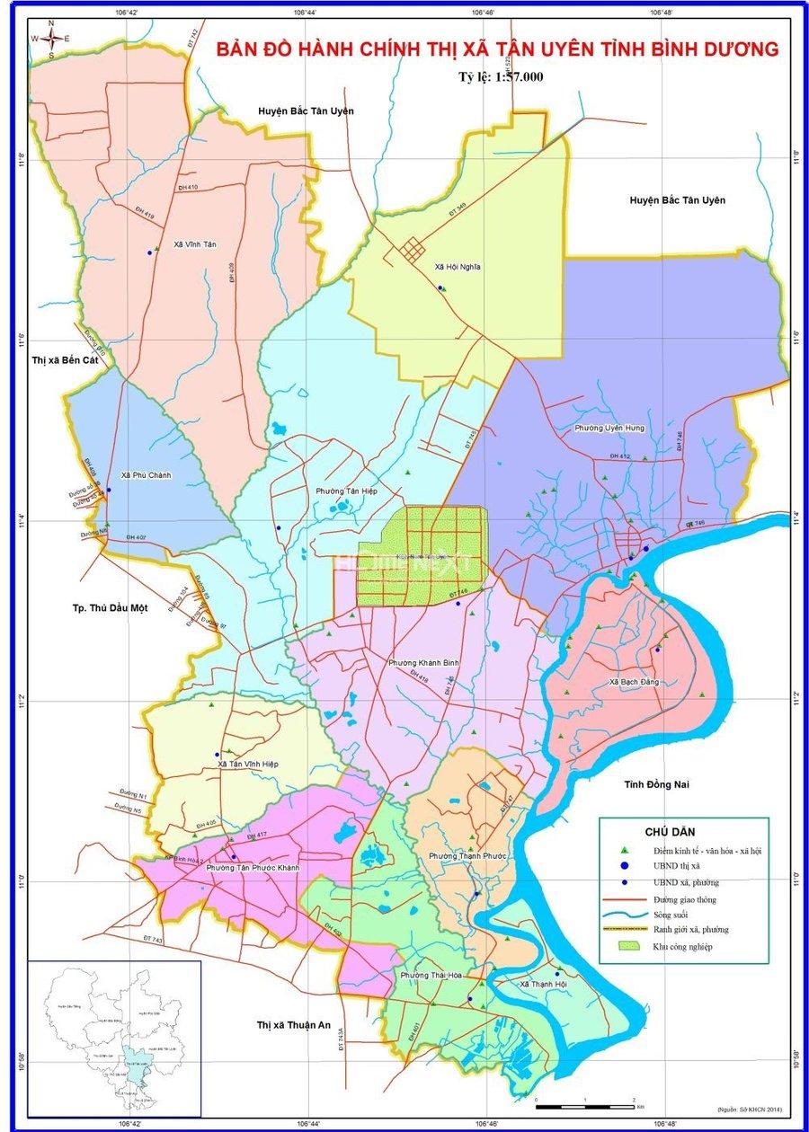 Hình ảnh bản đồ hành chính thị xã Tân Uyên Bình Dương