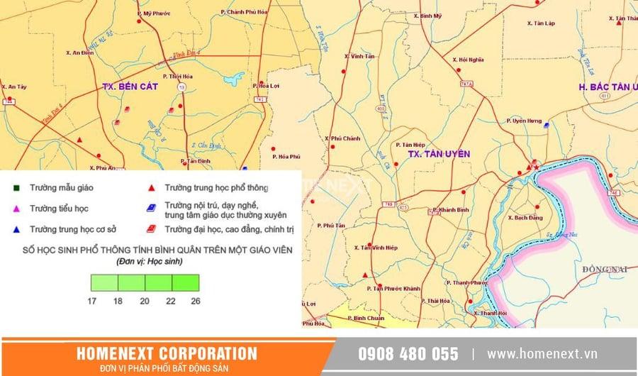 Hình ảnh bản đồ phân bố trường học tại khu vực Thị xã Tân Uyên Bình Dương