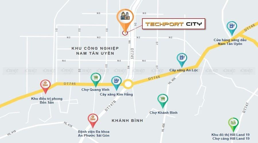 Vị trí lô đất dự án TechPort City tại Tân Uyên