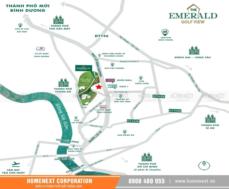 vị trí dự án căn hộ The Emerald Golf View