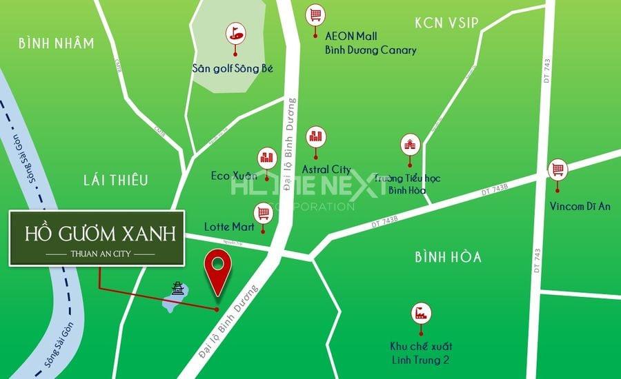 Vị trí chính xác dự án Hồ Gươm Xanh Thuận An City Bình Dương