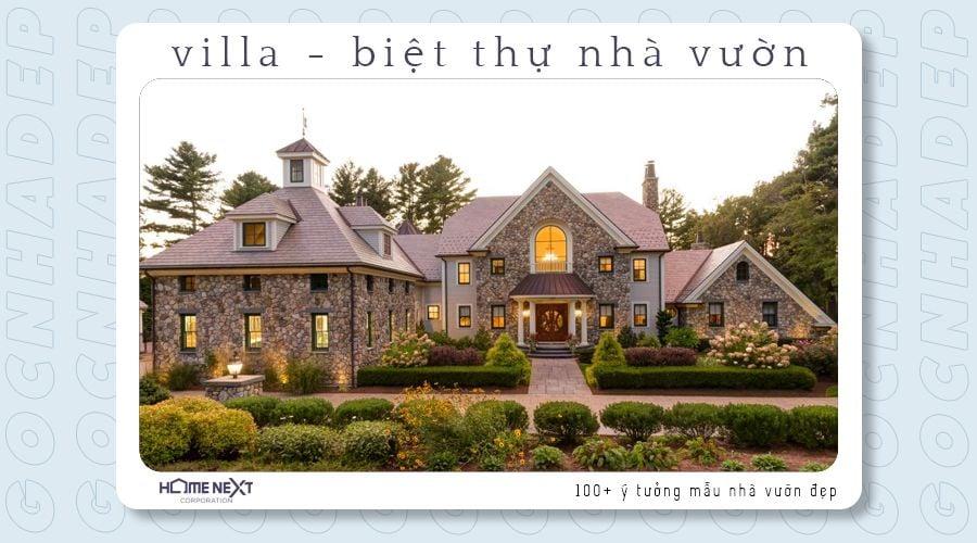 Biệt thự nhà vườn với phong cách cổ điển, ấm cúng, cùng khuôn viên sân vườn gọn gàng, theo quy củ