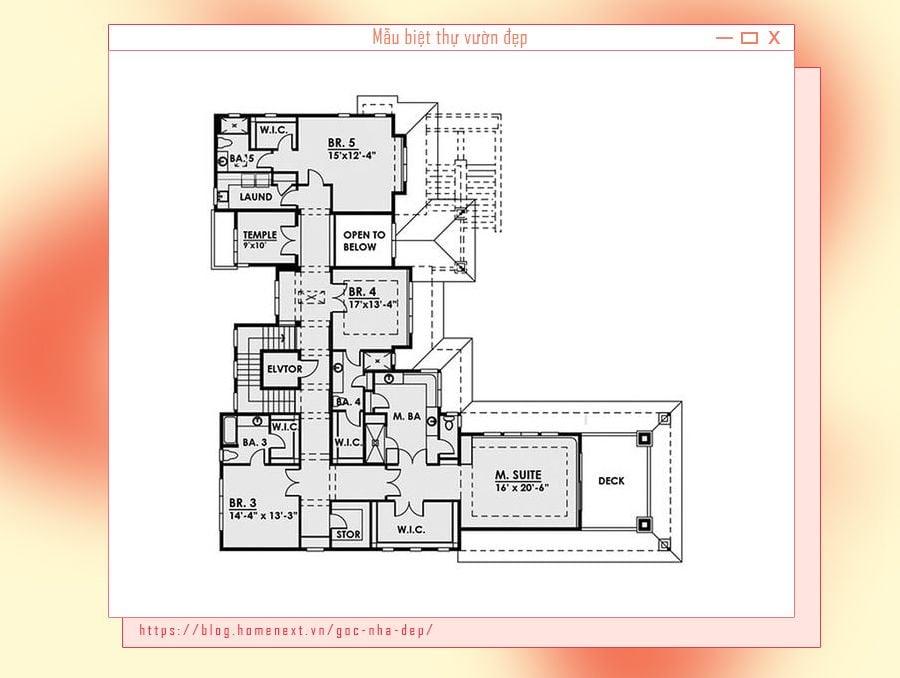 Bản vẽ thiết kế phòng óc trong biệt thự