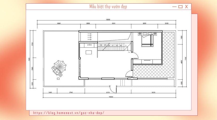Phòng ngủ nhỏ và không gian ban công sân vườn ngoài trời