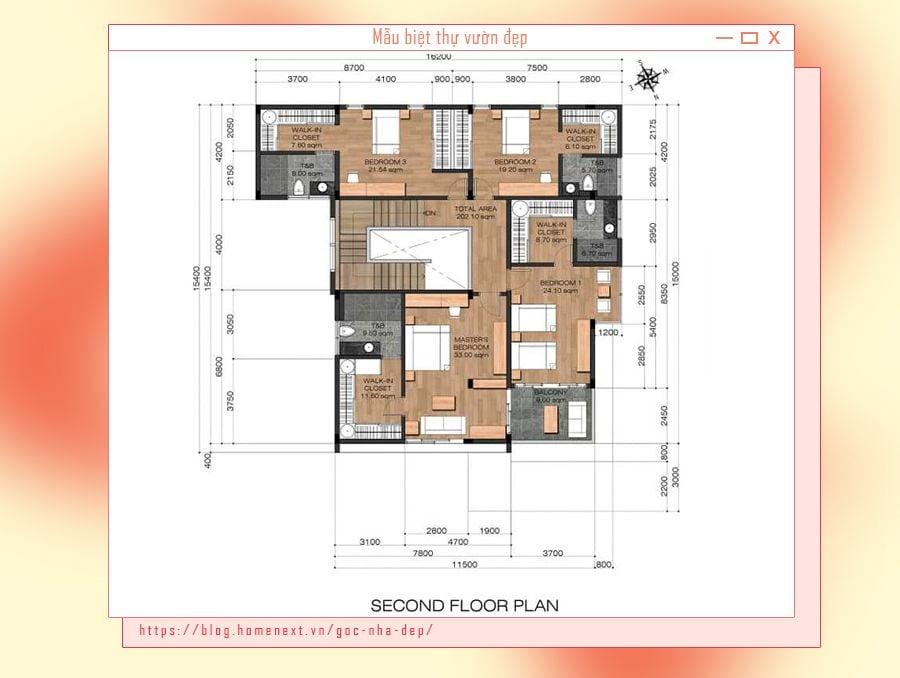 Bản vẽ chi tiết không gian phòng của căn biệt thự