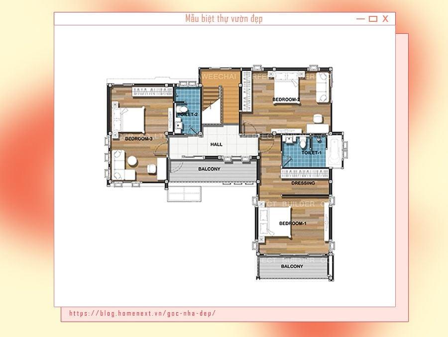 Cách bố trí phòng óc cho biệt thự 2 tầng