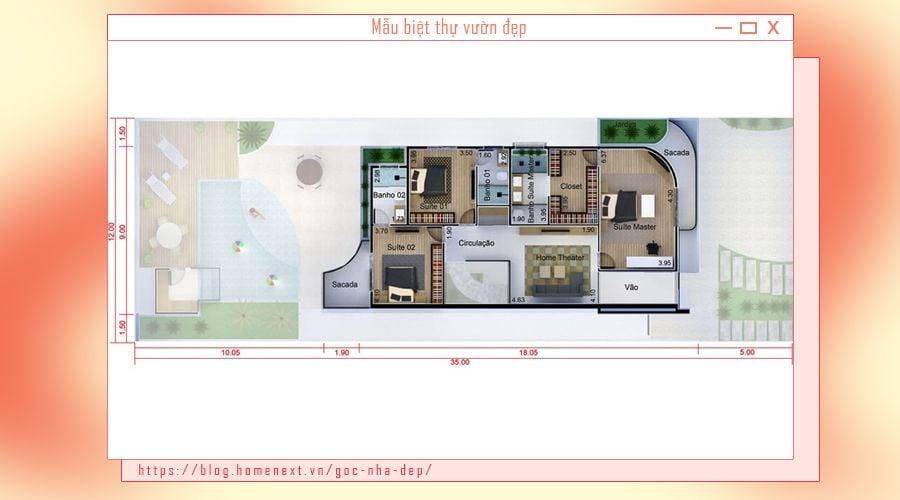 Tầng 2 biệt thự bao gồm 3 phòng ngủ