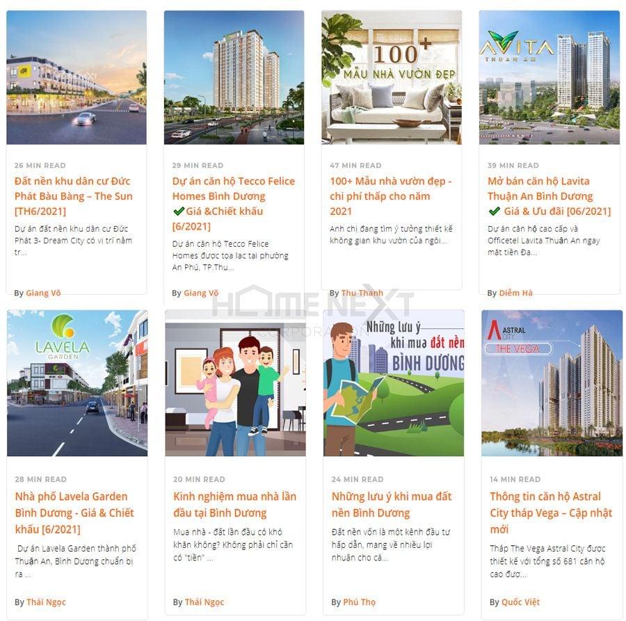 Trang Blog thông tin bất động sản của công ty HomeNext