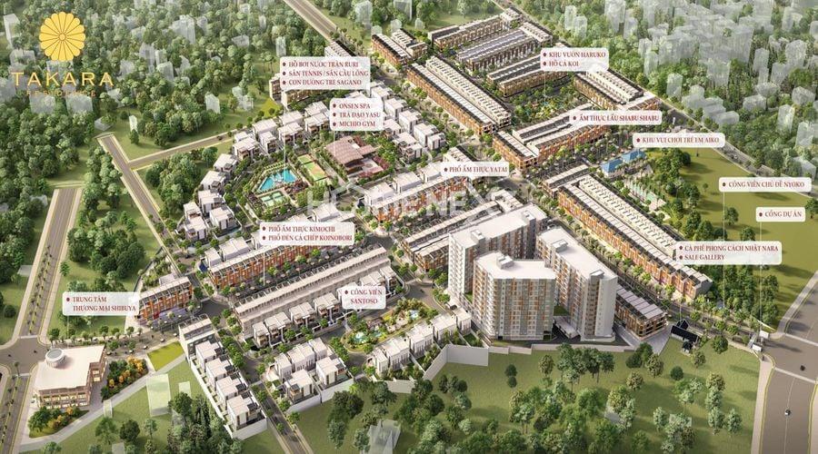 Mặt bằng bố trí tiện ích nội khu dự án Takara Residence Chánh Nghĩa