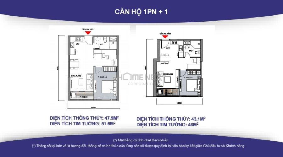 Mặt bằng căn hộ 1PN Vinhomes quận 9