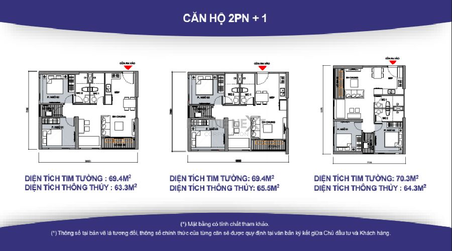Mặt bằng căn hộ 2PN (2wc) Vinhomes quận 9