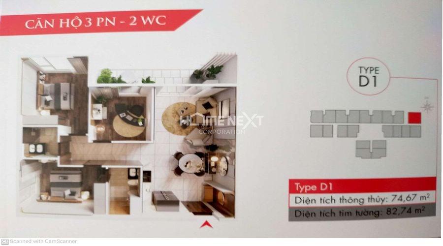 Mẫu D1 bản vẽ căn 2 phòng ngủ tại dự án Astral City Bình Dương