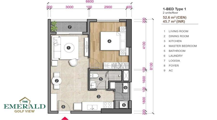 Thiết kế căn hộ 1 phòng ngủ The Emerald Golf View - loại 1