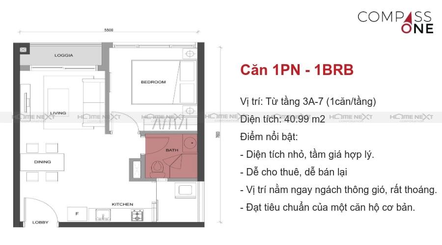 mô hình căn hộ một phòng ngủ compass one