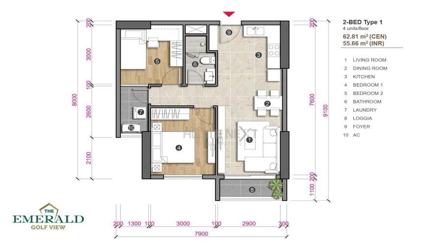 Thiết kế căn hộ 2 phòng ngủ The Emerald Golf View - loại 1