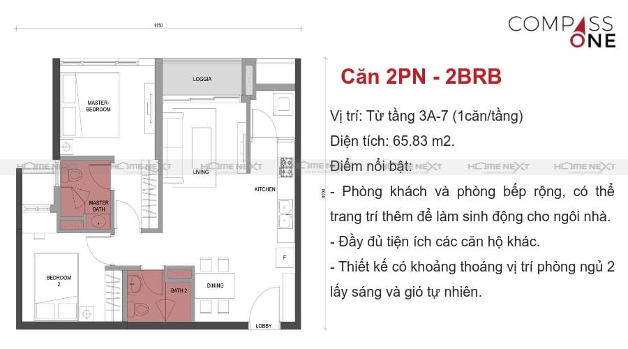 mô hình căn hộ hai phòng ngủ compass one