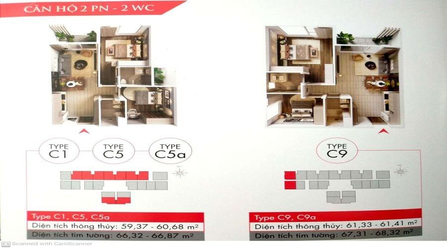 Mẫu C1, C5, C5a; C9 bản vẽ căn 2 phòng ngủ tại dự án Astral City Bình Dương