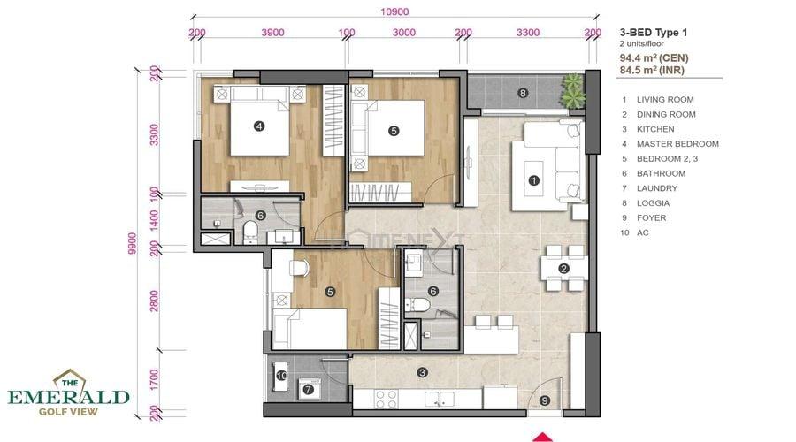 Thiết kế căn hộ 3 phòng ngủ The Emerald Golf View - loại 1
