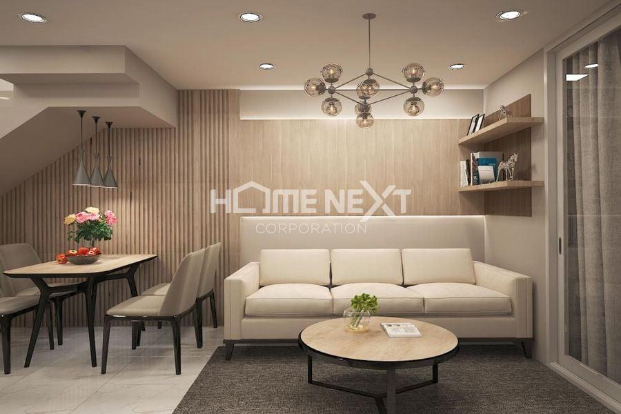 Phòng khách, nhà bếp căn hộ 30m2 tại Techport City