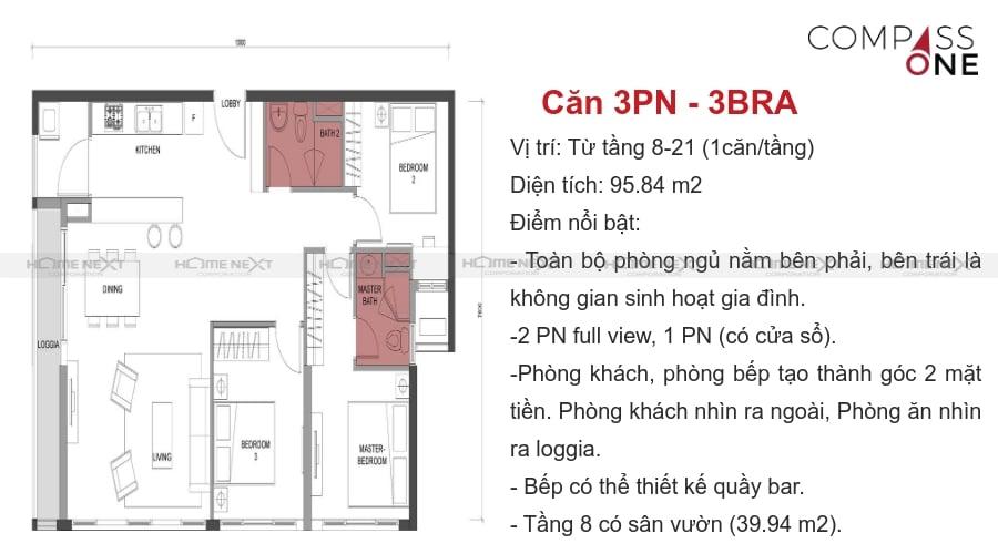 mô hình căn hộ ba phòng ngủ compass one
