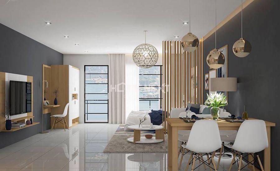 Căn phòng sử dụng gam màu trắng, màu gỗ tạo cảm giác mát mẻ, dễ chịu