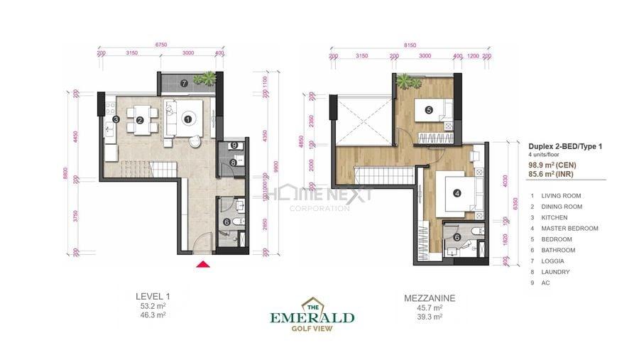 Thiết kế căn hộ Duplex The Emerald Golf View - loại 1