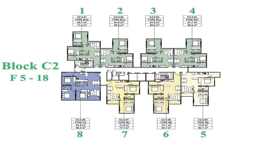 mặt bằng căn hộ habitat giai đoạn 3