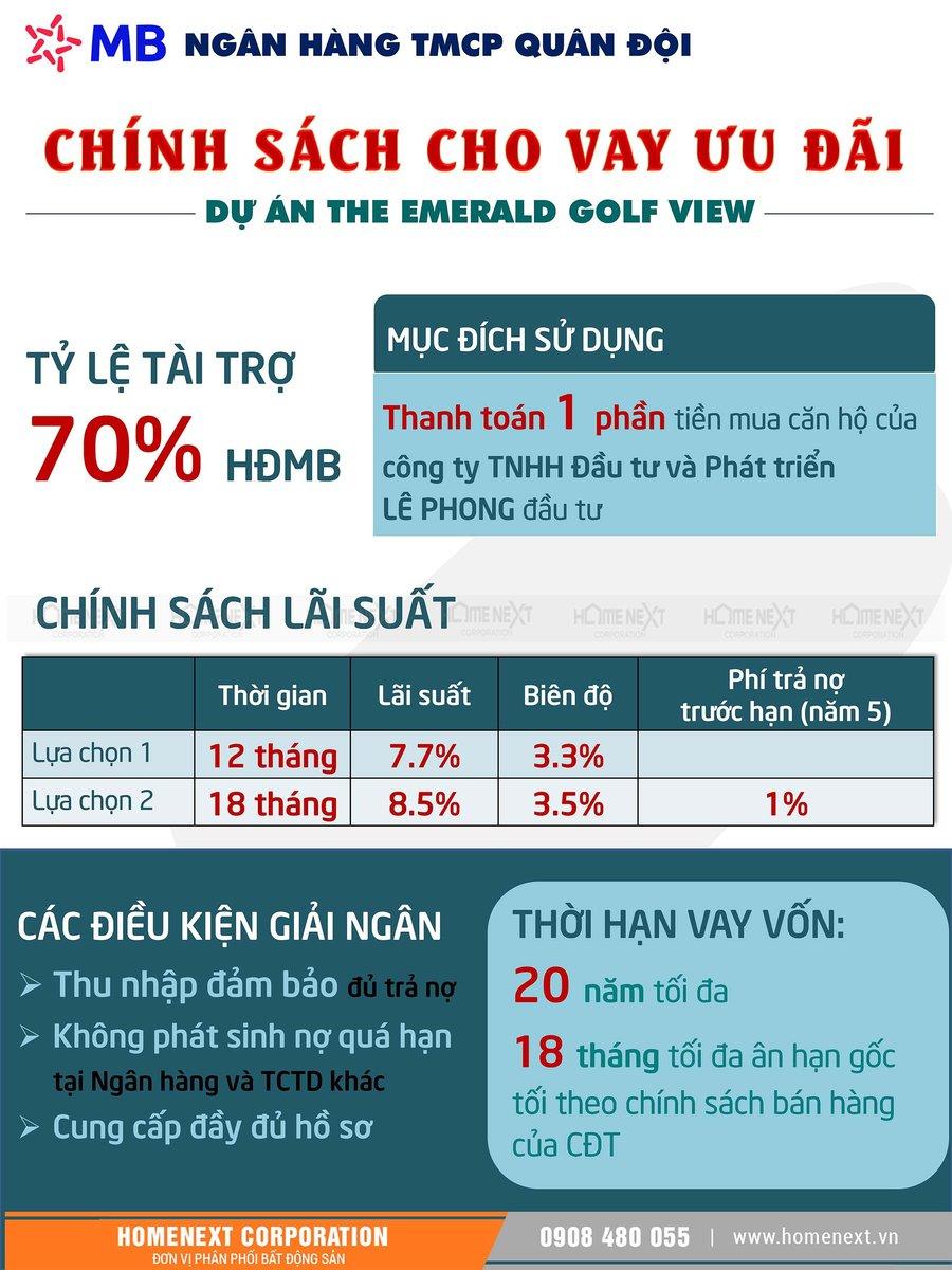 MB bank hỗ trợ vay mua The Emerald với 70% giá trị hợp đồng, lãi suất 7,7%/ năm đầu, thời hạn 20 năm. ân hạn gốc 18 tháng