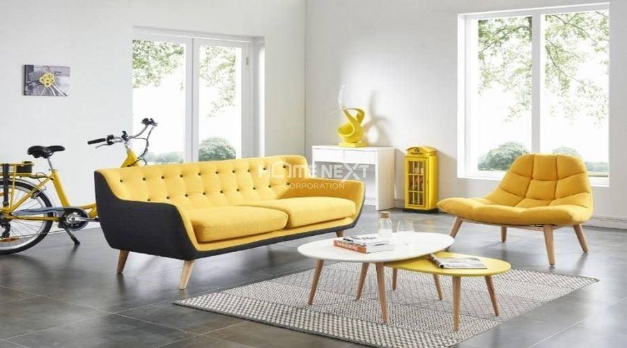Sofa vải cao cấp màu vàng nhạt mang đến sự trẻ trung cho không gian sống