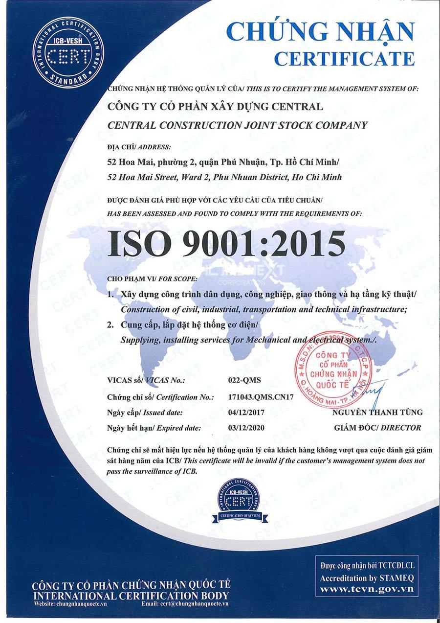 Giấy chứng nhận ISO của nhà thầu Central