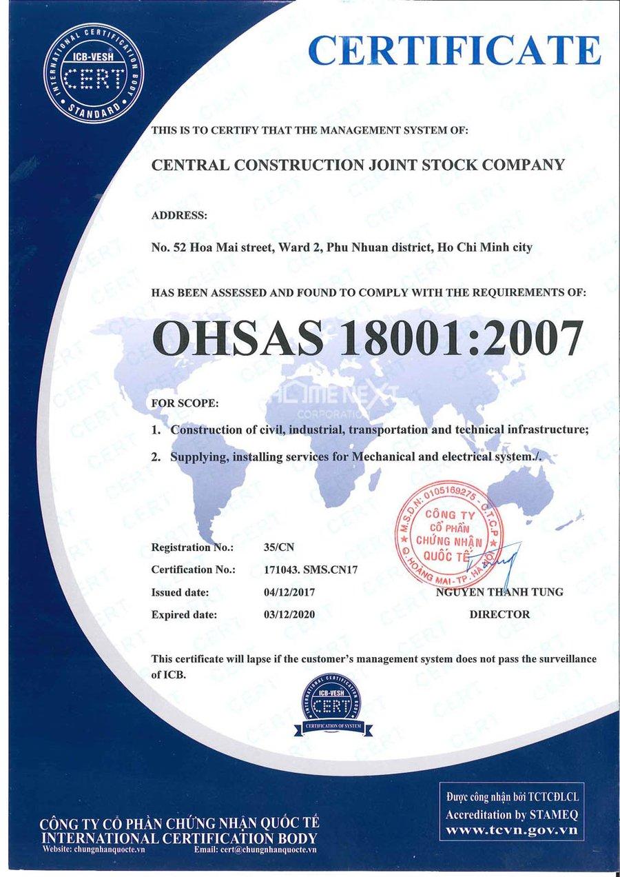 Giấy chứng nhận OHSAS của Central