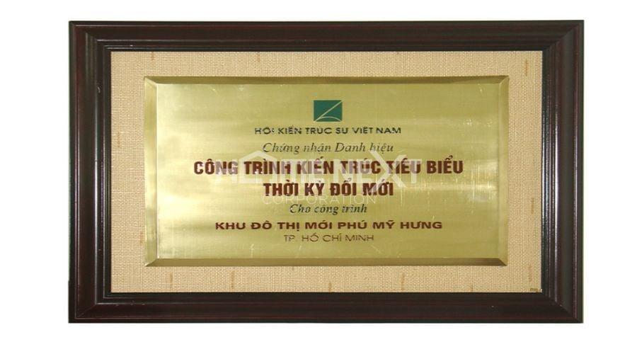 Chứng nhận Công trình kiến trúc tiêu biểu trong thời kỳ đổi mới do Hội kiến trúc sư Việt Nam trao tặng ngày 26/4/2008