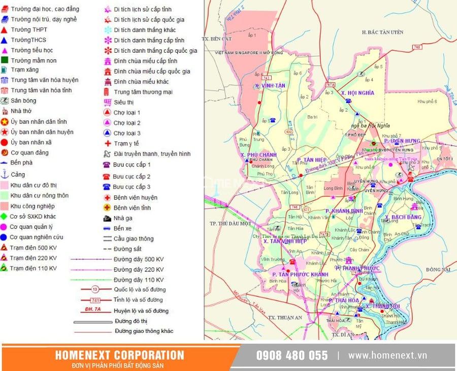 Hình ảnh bản đồ cơ sở hạ tầng thị xã Tân Uyên Bình Dương