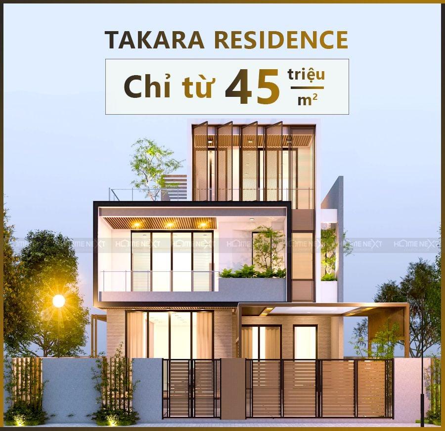 Takara Residence là dự án nhà phố theo phong cách Nhật Bản, với mức giá chỉ từ 45 triệu/m2